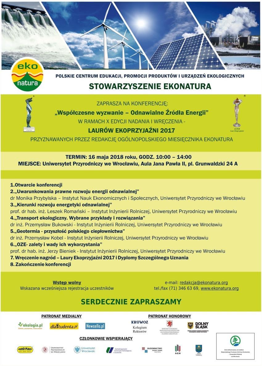 Laury Ekoprzyjaźni i konferencja o odnawialnych źródłąch energii [fot. materiały prasowe]