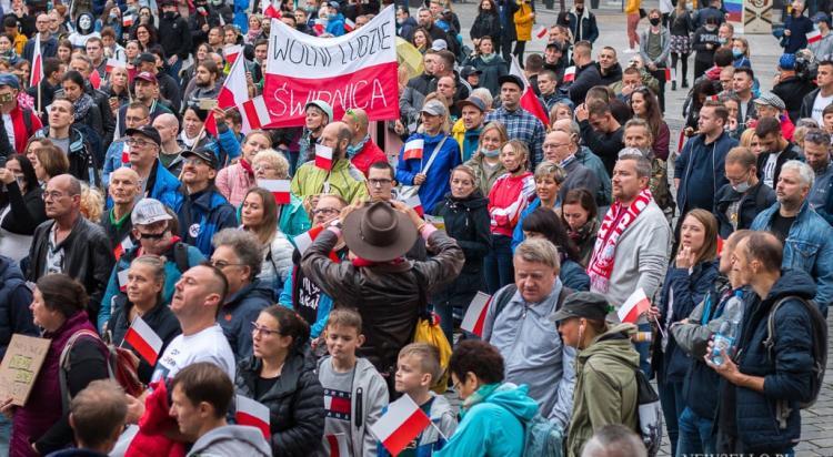 Protest antycovidowców we Wrocławiu