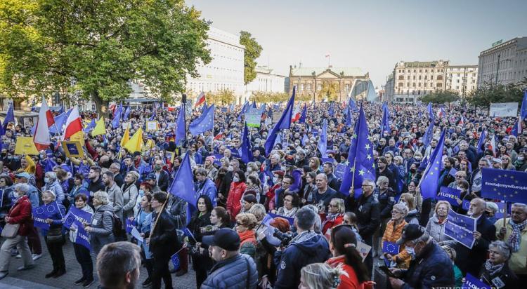 My zostajemy w Europie - demonstracja w Poznaniu