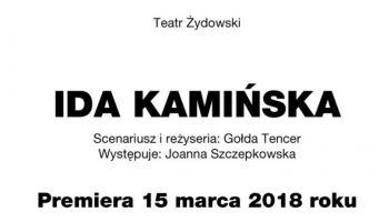 """""""Ida Kamińska"""" w wykonaniu Joanny Szczepkowskiej - premiera monodramu"""